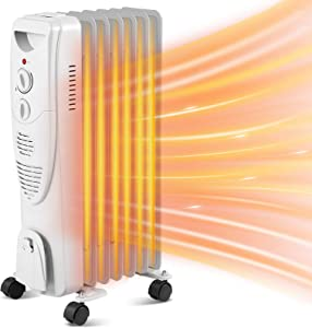Kismile 1500W Oil Filled Radiator Space Heater, Portable Electric Space Heater with Adjustable Thermostat & Overheat Protection, 3 Heat Settings Space Oil Heater for Home/Office (Grey)