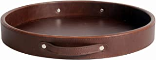 Round Serving Tray for Ottoman Pu Leather Coffee Table Tray with Handles Kitchen Bedroom Living Room (14.6 inches Brown)
