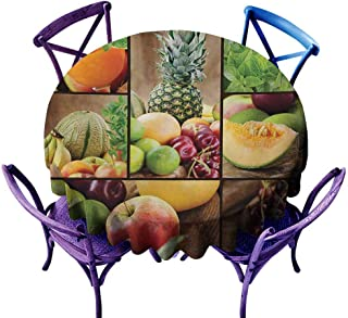 Zodel Custom Tablecloth,Nature Fruits Salad Themed Watermelon Pineapple Apple Cherries Juice Collage Art Print,for Events Party Restaurant Dining Table Cover,63 INCH,Multicolor