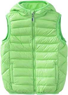 Boys Girls Front Zip Packable Hooded Down Puffer Vest