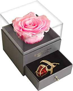 SWEETIME Pink Rose Gift Box Enchanted Real Rose with Ruby Rose Brooch, Eternal Rose Flower in Ring Box, Handmade Preserved Rose, Gift for her on Birthday, Anniversary,Thanksgiving Day, Christmas.