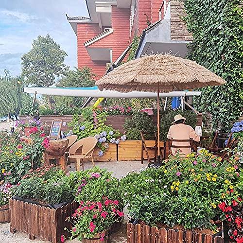 Cakunmik Parasol Redondo de 1.8m con inclinación, sombrilla de jardín de Techo de Paja Paraguas de Playa Hawaiana, Color Natural, Paraguas de protección Solar Impermeable al Aire Libre, con Pedestal