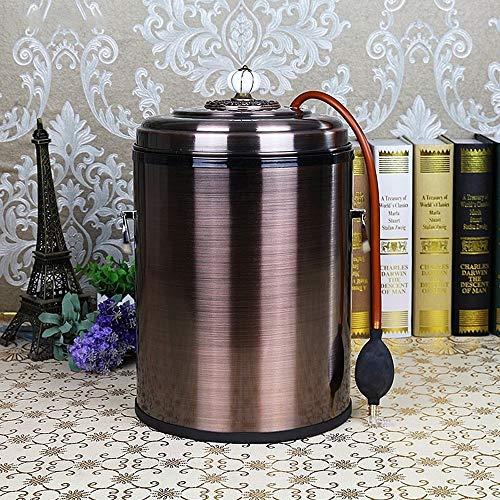 JGB-SNHSX 6L / 8L Tea Bucket Tea Retro Garbage Pail Stainless Steel Trash Can Met Bronze Colour Living Room Thee En Garbage Bin (Capacity : 8L, Color : Red)