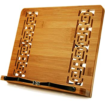 wishacc Large Size bamboo book stand and cookbook holders for reading hands free