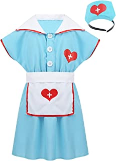 Freebily Classic White Nurse Costume Uniform Dress Florence Nightingale Halloween Cosplay Party Outfit