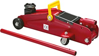 Cartrend 7740014 Hydraulische garagekrik 2 ton krik, traploos regelbare verlaging van kwaliteitsstaal, Rood