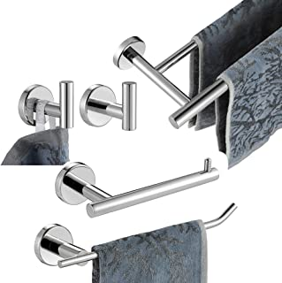 JQK Bathroom Hardware Towel Bar Set, 5-Piece Bath Accessories Set Polished Chrome Wall Mount Includes 24 in Towel Bar, 9 in HT Bar, TP Holder, Towel Hook x 2, BAS105-CH