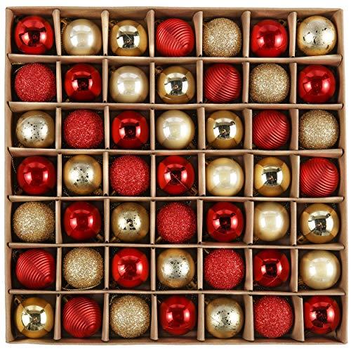 Valery Madelyn Weihnachtskugeln 49 Stücke 3CM Kunststoff Christbaumkugeln Weihnachtsdeko mit Aufhänger Glänzend Glitzernd Matt Weihnachtsbaumschmuck Dekoration Thema Rot Gold