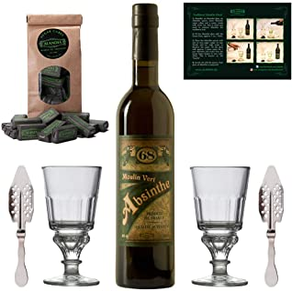Absinth Set Moulin Vert | Original Absinthe aus Frankreich | Mit 2x Absinth-Gläsern / 2x Absinth-Löffeln / 1x Absinth-Zucker | 1x 0.5l