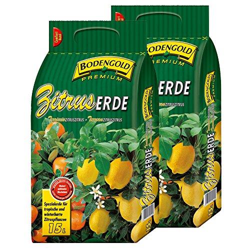 2 Sack Zitruserde Bodengold á 15 L = 30 Liter Spezialerde für Zitrusfrüchte