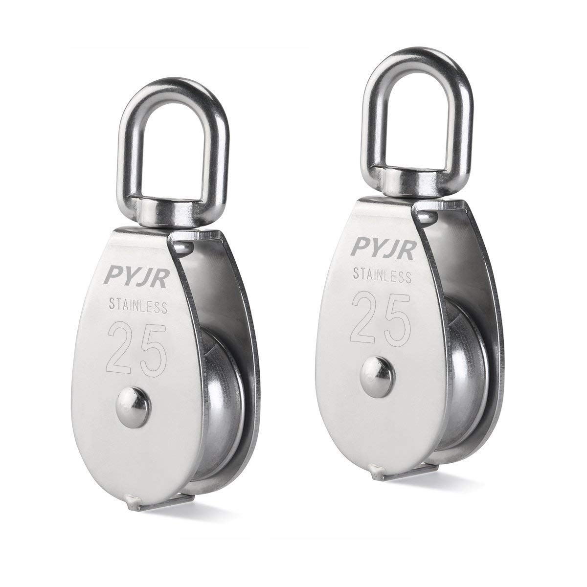 M25 Pulley, 25MM Single Pulley Block in 304 Stainless Steel Roller (Pack of 2)