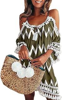 Sumeimiya Dress Women's Sumeimiya Off Shoulder Dress, Halter Beach Dress Tassel Short Cocktail Sundress