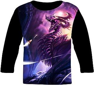 247360cdc Fuxejin Hipster Kids T Shirt,Purple Bad Dragon Painting Print Long Sleeves  Tee for Girl