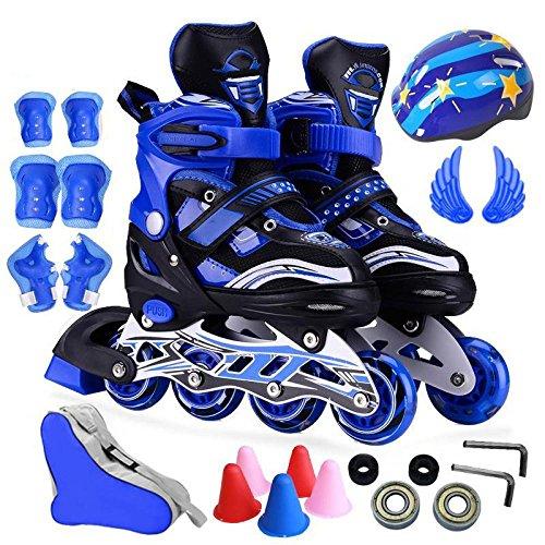ZCRFY Inline Skates Mädchen Größenverstellbare Rollschuhe Flash Roller Blades Kinder Erwachsene Kinder Jungen Atmungsaktive Rollschuhe Set Für Anfänger Kleinkinder,Blue-S