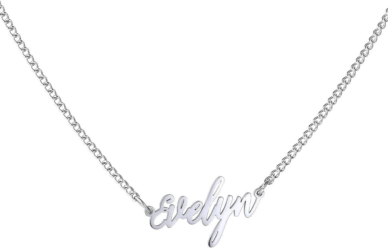 WIGERLON Custom 5 ☆ popular Name Necklace Personalized 18k Pendant Gol Super intense SALE White