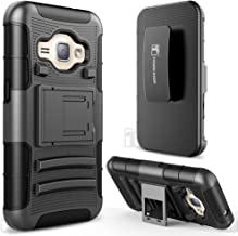 Galaxy J1 (2016) / J120 Case, Galaxy Amp 2 Case, Galaxy Express 3 Case, TownShop Black Rugged Impact Armor Hybrid Kickstand Cover with Belt Clip Holster Case for Samsung Galaxy J1 2016