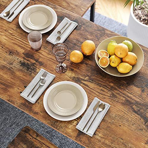 VASAGLE Bartisch-Set, Stehtisch mit 2 Barhockern, Küchentresen mit Barstühlen, Küchentisch und Küchenstühle im Industrie-Design, für Küche, 120 x 60 x 90 cm, vintagebraun-schwarz LBT15X - 5