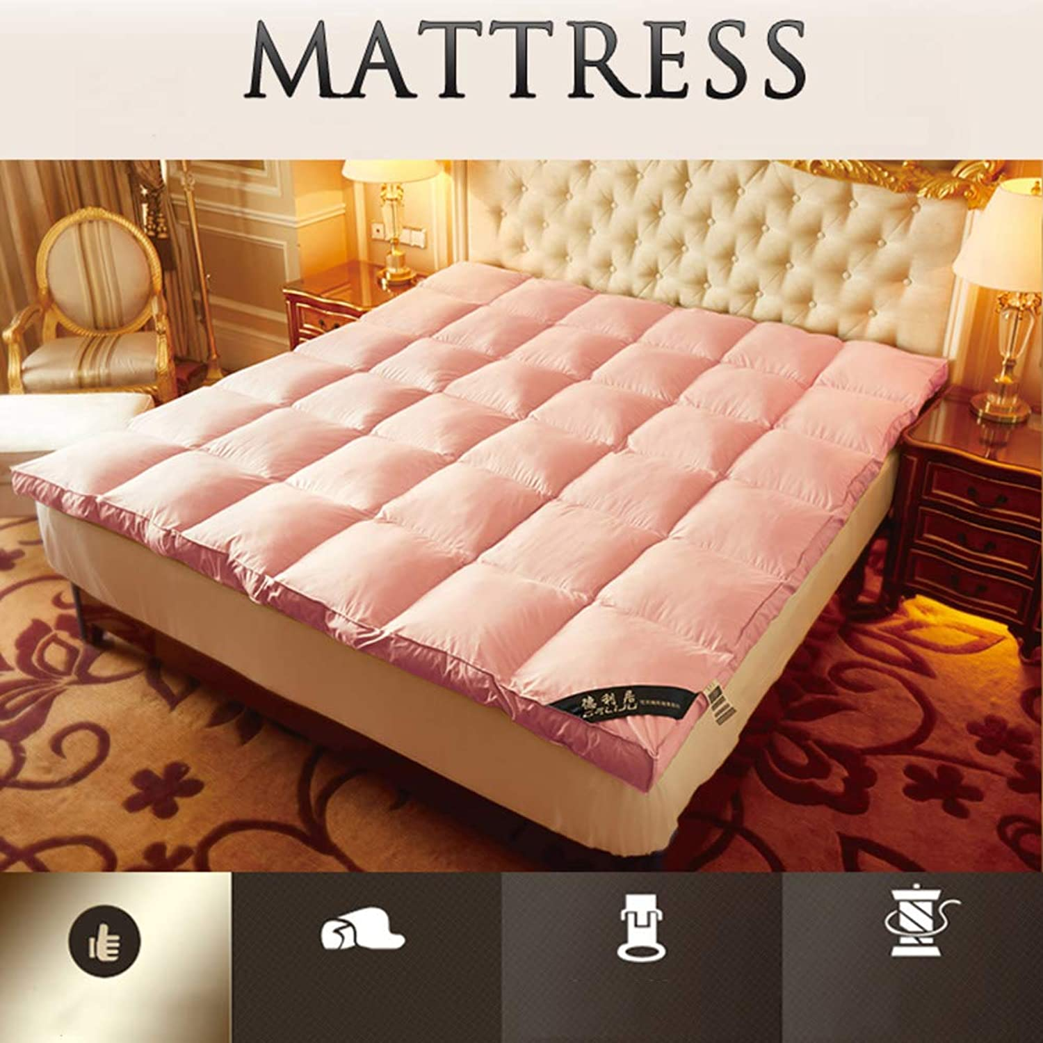 Thicken Mattress Pads,Foldable Tatami Mattress,Polyester Non-Slip Solid color Japanese Hotel Overfilled Soft Mattress Predector-Pink 90x200cm(35x79inch)