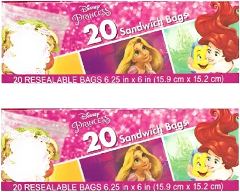 2 Pack 40 CT Disney Sandwich Bag For Kids Various Characters Disney Princess