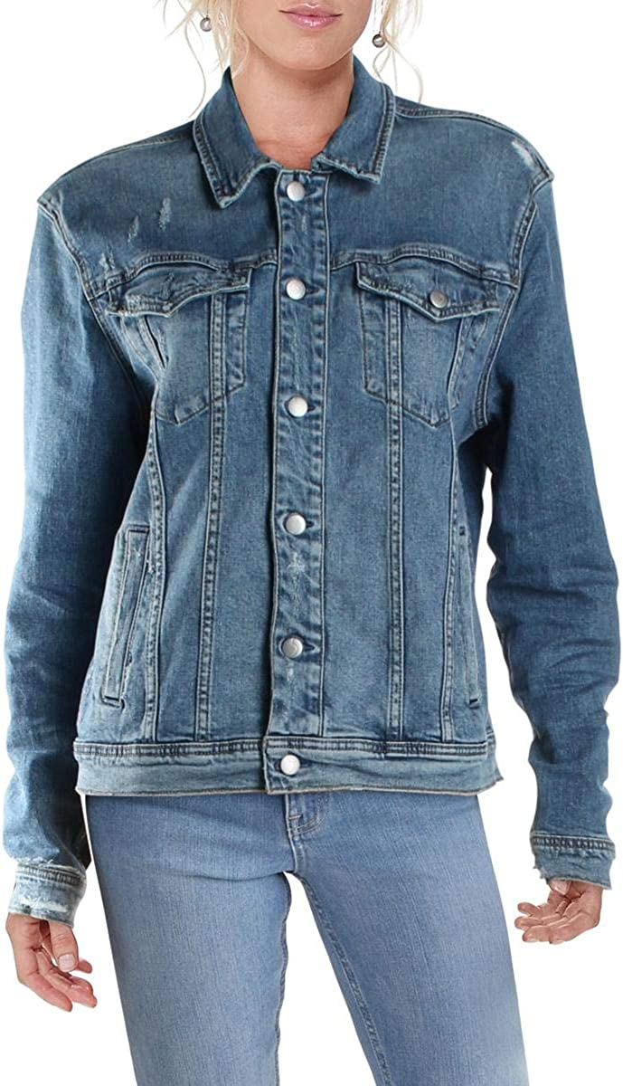 Joe's Jeans Womens Distressed Spread Collar Denim Jacket
