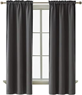 Deconovo Thermal Insulated Blackout Curtains Room Darkening Rod Pocket Curtain Panels for Living Room 38 Inch by 72 Inch Dark Grey Set of 2