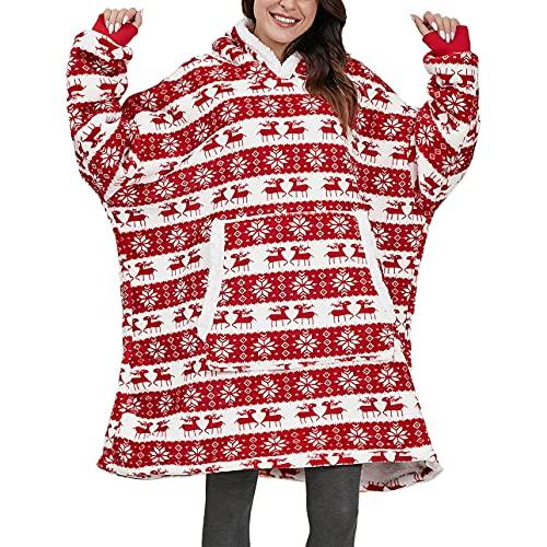 Pabuyafa Sudadera con capucha de gran tamaño con capucha y regalos para mujeres y hombres adultos de doble forro polar de felpa con capucha, Copo de nieve rojo, talla única