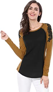 Women's Floral Embroidery Color Block Raglan Sleeve T Shirt