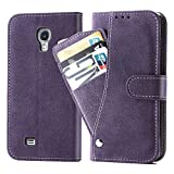 Asuwish Galaxy S4 Case,Leather Wallet Phone Cases with Credit Card Holder Slot Slim Kickstand Stand Flip Folio Protective Cover for Samsung Galaxy S 4 i9500 GS4 Women Girls Purple