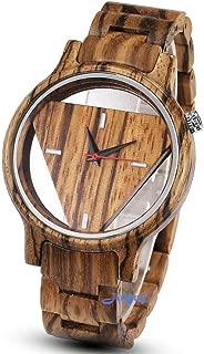 Men's Wooden Watches Inverted Triangle Wood Watch for Mens Minimalist Quartz Watch Birthday Gifts