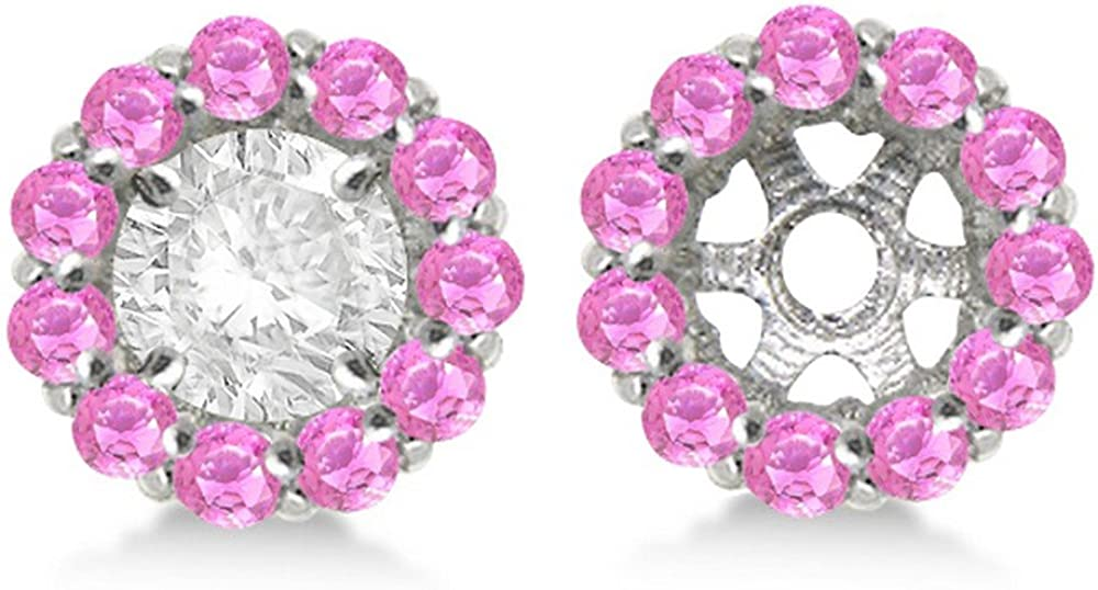 14k Gold 1.20ct Ladies Round Pink Sapphire Earring Jackets for 4mm Studs