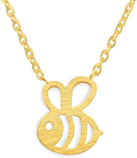 Altitude Boutique Bumble Bee Necklace, Honey Bee Hive Necklace for Women (Silver, Gold)