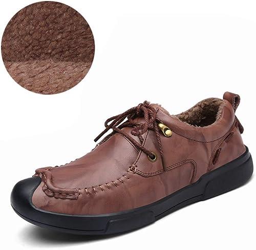 LUCKYEUD Chaussures d'affaires pour Hommes Chaussure Chaussure à Lacets Tout Confort Doublée De Cuir pour Le Travail Professionnel,rouge-cotton-EU41  réductions et plus