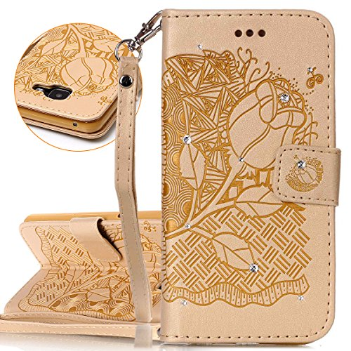 ISAKEN Custodia Cover per Samsung Galaxy A3 2016/A310 con Strap, Inlaid Bling Diamante Cover in PU Pelle Flip Portafoglio Wallet Caso con Supporto di Stand/Carte Slot - Rose:Oro