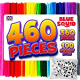 Pipe Cleaners Craft Chenille Stems - 460 Pcs, 360 Assorted Color Chenille Cleaners, Multi-Color Pipe Cleaners, DIY Art & Craft Projects, Kids Fuzzy Sticks Crafts, Extra Long Pieces, Sparkle Crafting