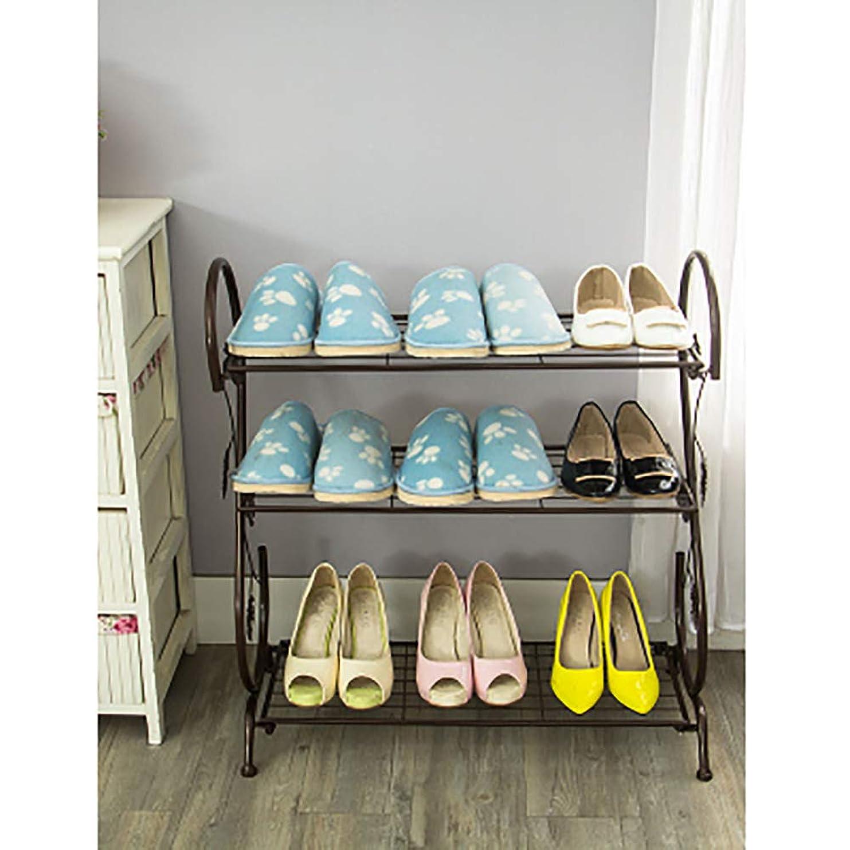 ナサニエル区ステレオタイプ尽きる靴ラックシンプルな靴ラック家庭用収納靴キャビネット錬鉄製の多層収納靴ラック現代シンプルな防塵小型靴キャビネット学生ブロンズ、3層