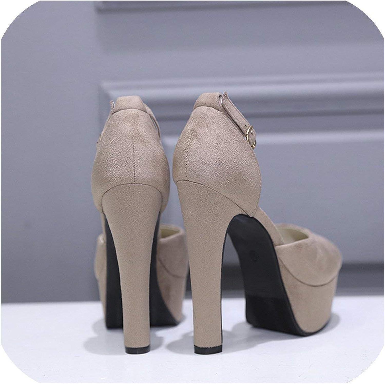 High Heels 14Cm Spike Heels Ankle Strap Black Beige Platform Pumps Party shoes