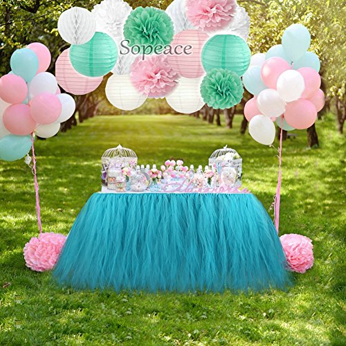 Sopeace Pink and Mint Green Party Decorations. Tissue Pom Pom,Paper Lanterns ,Honeycomb ball and Latex Balloons for Girl Princess Party Baby Shower Wedding Birthday Parties Decoration …