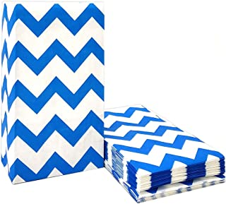 50 Pcs Paper Party Favor Bags Printed Kraft Paper Bags Blue Chevron Paper Gift Bags for Sweets Biscuits Nuts Chocolates Christmas Gifts Birthday Wedding Party or Anniversary (5.1 x 3.1 x 9.4 in)