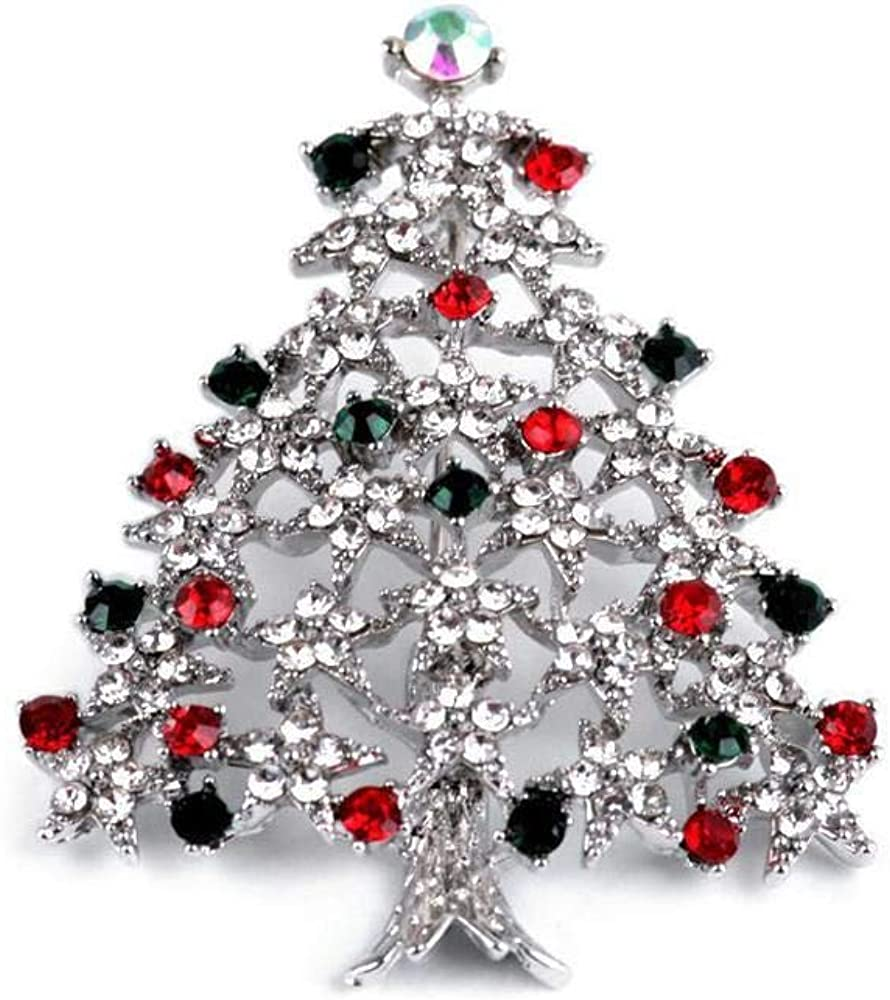 1pc Platinum Rhinestone Brooch Christmas Tree, Brooch Xmas, Brooch Pin, Brooch Holiday, Accessory Gift, Metal and Glass Brooches, Jewellery