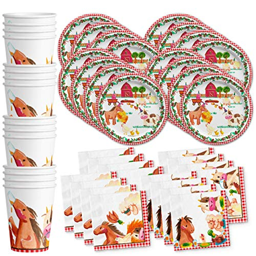 Barnyard Farm Animals Vintage Birthday Party Supplies Set Plates Napkins Cups Tableware Kit for 16