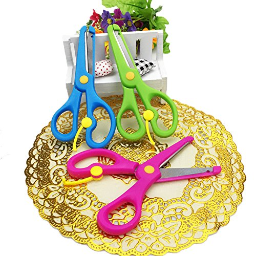 Students Round Edge Scissors,Safe Edging Scissors for Kids,Set of 3,Blue,Green,Pink