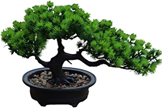 Aisamco Artificial Bonsai Tree Fake Plant Decoration Potted Artificial House Plants Japanese Pine Bonsai Plant 19 cm in He...