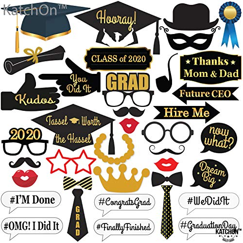38 Count Black and Gold Grad Party Photo Props