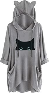 Women's 3/4 Sleeve Print Cat and Cup Ear Hoodie Pocket Casual Hooded Shirt Pocket Irregular Blouse Top
