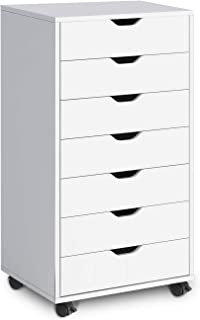DEVAISE 7 Drawers Chest, Storage Dresser, Cabinet with Removable Wheels (White)