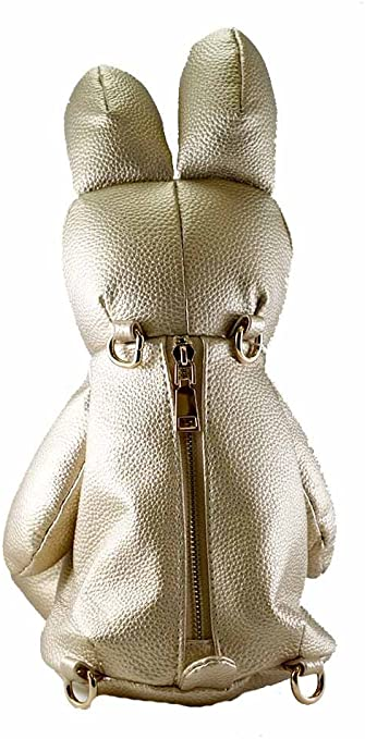 Bunny backpack for girl in faux leather yellow and gold