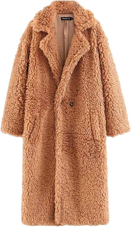 Desolateness Women Winter Warm Loose Long Fleece Jacket Coat Outwear