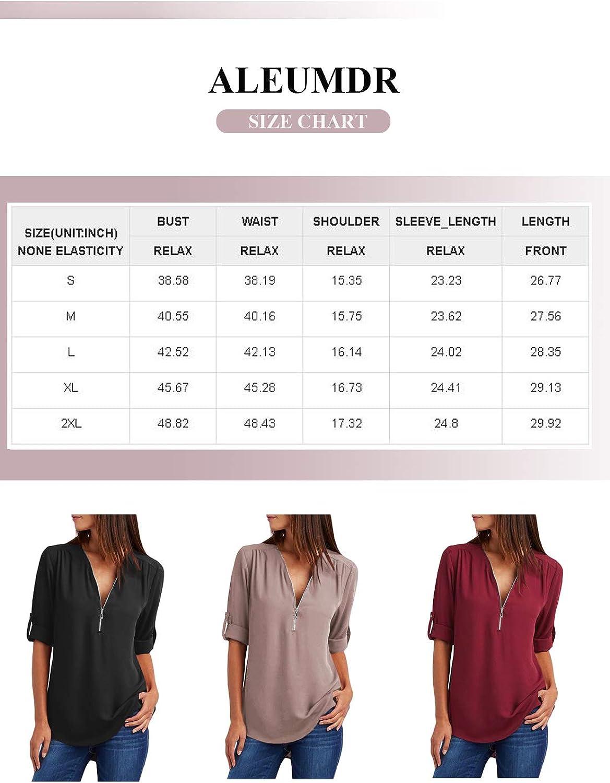 Aleumdr Womens Summer Casual Short Sleeve V Neck Half Zipper Up Tunic Tops Blouse Tshirts
