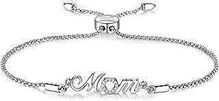 NINAMAID Mother Daughter Sterling Silver Bracelet Infinite Love Women Adjustable Chain Bracelet Jewelry Cubic Zirconia Bolo Jewelry Gift for Mom Grandma