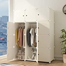 Cube Wardrobe Cabinet Plastic Cloth Closet DIY Modular Clogthing Storage Organizer 6 Cubes 2 Hanging Section Wood Pattern Portable for Clothes Shoes Toys